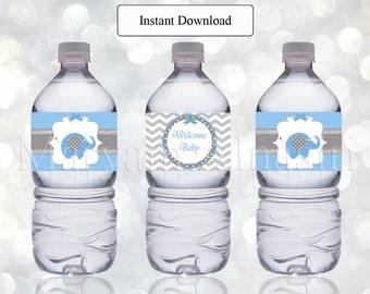 Printable bottle label ,elephant baby shower,  Instant Download , blue and gray , DIY - digital file