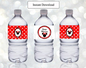Printable bottle label ,minnie mouse theme ,red and black, polka dots , Instant Download , DIY - digital file