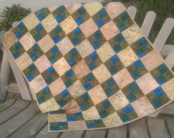 Batik baby quilt, lap blanket, blue and green, gender neutral, modern baby blanket, leaf print, 34 x 41, abstract quilt