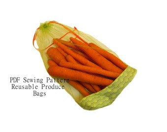 Waste Free PDF Sewing Pattern in 3 styles, drawstring, reinforced bottom, and elastic - 3 sizes Reusable Produce Bags