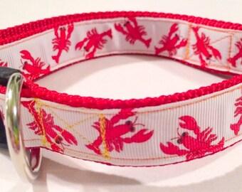 """Crawfish """"mudbugs"""" dog collar"""