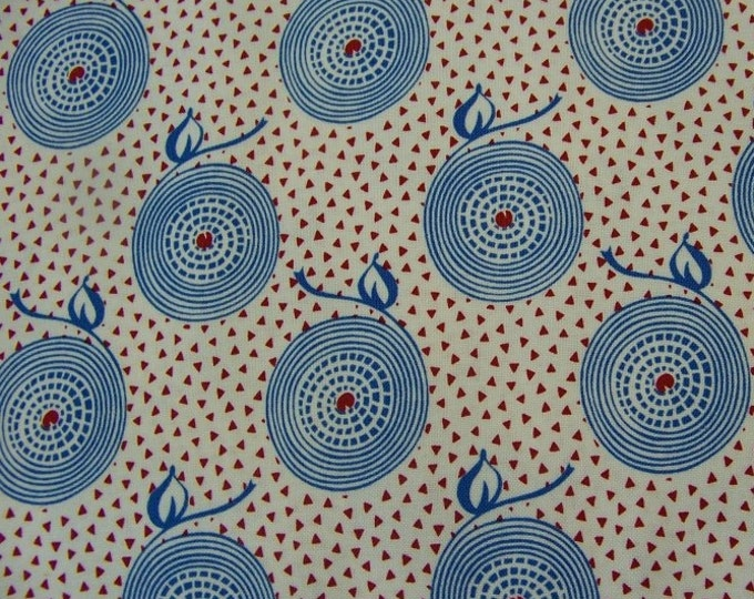 All American Girl by Paintbrush Studio - Blue Circles and Small Red Triangles on a White Background - Cotton Woven Fabric