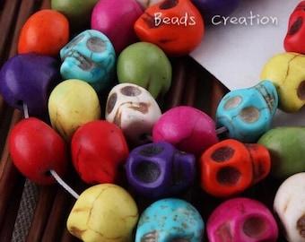 22x17mm JUMBO Skull Head Beads,Day of the Dead Skull, Halloween Mixed Color Beads, Ivory Turquoise Howlite Skull Beads