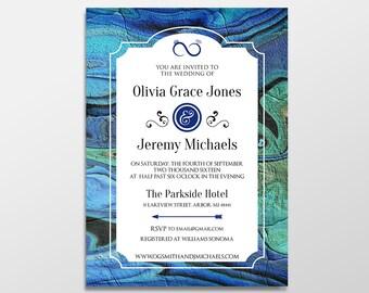 Custom Personalized Digital Blue Wedding Invitations, 5x7 PRINTABLE or PRINTED- Blue Bliss Agate Wedding Invites