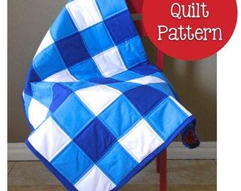 Lap Crib Size Boy or Girl Gingham Buffalo Check Quilt- Sewing Pattern PDF Digital Download Ebook