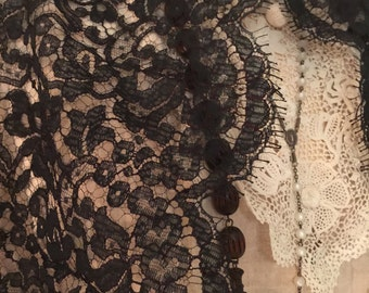"""RESERVED For Lovely Patricia// Antique// Chantilly Lace// Seamstress// Reuse// A Long Scalloped 40"""" Gorgeous Piece"""