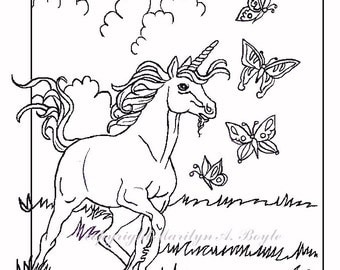 ADULT COLORING PAGE; Unicorn, fantasy, unicorn, chasing butterflies, adult coloring, original art