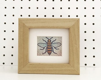 Manchester Bee Mosaic Print Shelf Frame Wood Finish