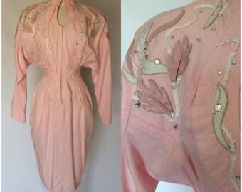 ON SALE Vintage 80s IIF Pink Dress Batwing Sleeves Rhinestones Wiggle Western Size S