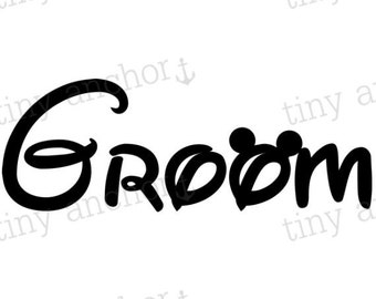 Groom with Mickey Mouse Ears Disney Vacation Iron On Transfer Printable