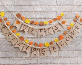 FALLING IN LOVE  + Gifts  Burlap banner – Fall wedding, autumn wedding, bridal shower, engagement, reception, Fall décor, Fall photo prop
