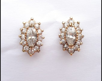 Vintage Goldwashed Sterling Silver and Crystal Rhinestone Marquise Earrings Pierced