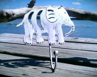 Elephant Hook, Metal Hook, Nature Hook for Kids Room or an Elephant Lover, Painted White, Distressed, Cottage Chic Decor