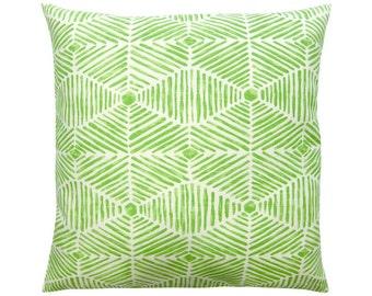 HENI ethno Ikat pillow cover kiwi green white 50 x 50 cm