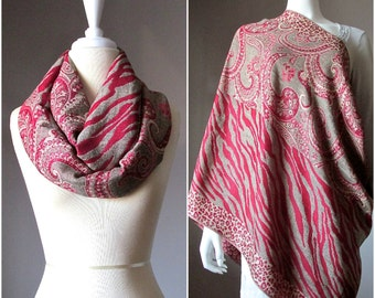 Animal print woven scarf in Red, Nursing cover