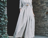 Dress personality high drawstring waist three quarter sleeve loose fluid one-piece dress robe-strip