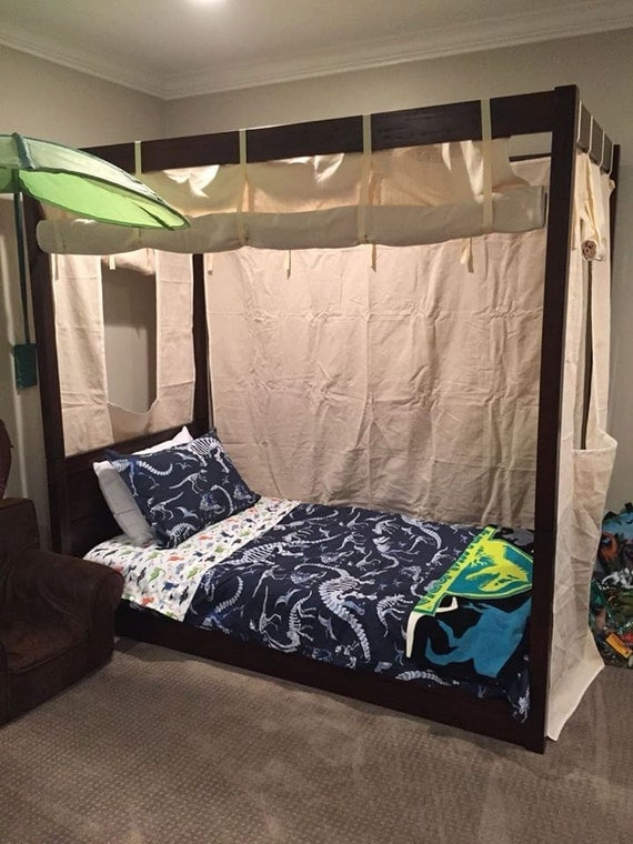 Items similar to twin size canvas bed enclosure tent boys for Twin size beds for boys