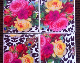 Flowers, colorful coasters, set of 4