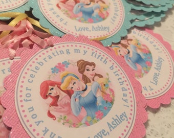 New... Princesses Party Favor Tags set of 12