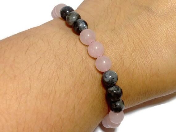 Rose Quartz bracelet, with black moonstone, chakra ...