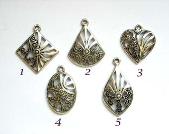5 Assorted Antiqued Silver Tone Charms