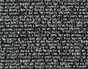 Architextures Black White Text - 1/2yd