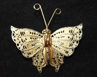 Vintage Gold Tone Butterfly Brooch, Filigree, Pin Jewelry, Insect, Collectable
