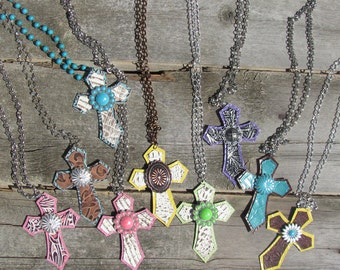 Leather Cross Necklaces