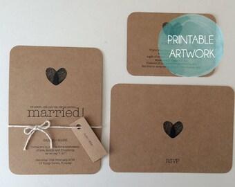 PRINTABLE - Wedding Invitation Set - Kraft Brown Paper -  Custom Made to Order Invitation