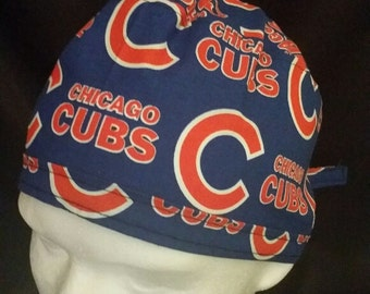 Chicago Cubs Cubbies Baseball MLB Tie Back Surgical Scrub Hat