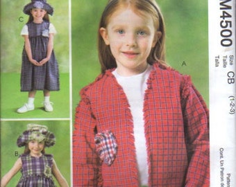 McCalls Pattern 4500 Toddlers Jacket, Dress and Hat Size: 1-2-3