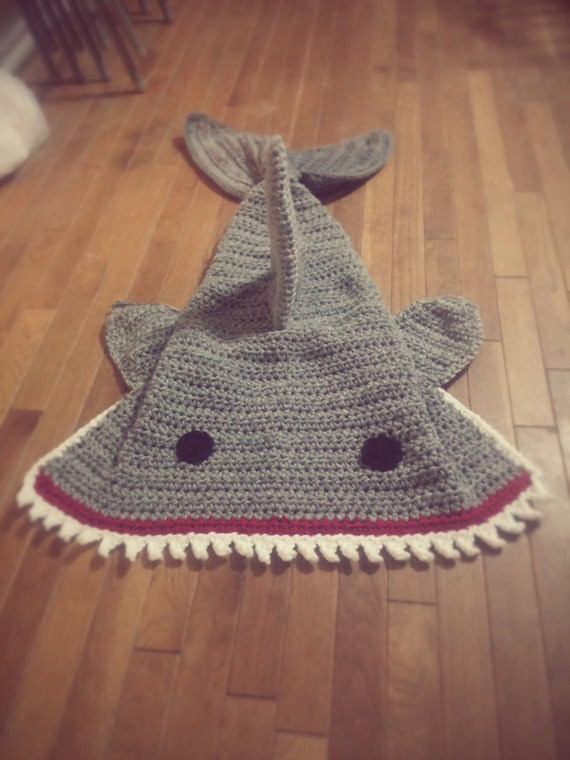 Free Pattern Crochet Shark Blanket : Crochet Shark Blanket Cocoon wrap snuggie cozy