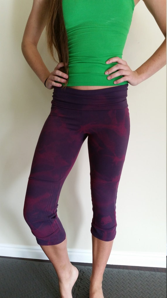 items similar to hand painted kneeotech yoga pants with built in knee pads fuschia on eggplant. Black Bedroom Furniture Sets. Home Design Ideas
