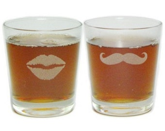 Mustache and Lips - His and Her's Engraved Highball Glasses - Permanently Etched - Fun & Unique Gift!