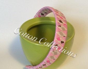 Woven/breaded headband, pink headband, printed headband, one inch headband