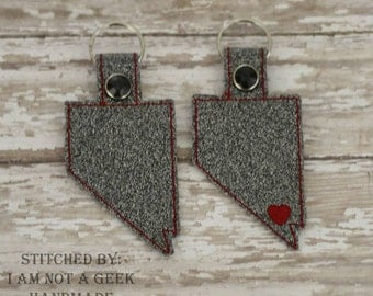 NEVADA Outline - State -  Heart for the City - In The Hoop - Snap/Rivet Key Fob - DIGITAL Embroidery Design