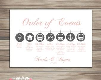 Custom Wedding Timeline Printable- DIY Printable- Wedding Timeline - Itinerary, Bridesmaids and Groomsmen