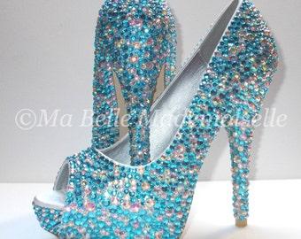 Crystal Peep Toe Shoe's, Crystal Wedding Shoes, Peep Toe Wedding Shoes, Blue Crystal Shoes, Blue Wedding Shoes, Blue Shoes