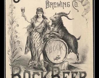 "Geo Winters Brewing Company,  Bock Beer,  early 1900s, bar decor, man cave, rec room decor, advertising,  11 X 14""  satin canvas art print"