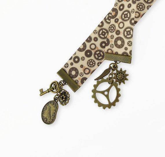 Steampunk Bookmark Gear Design Ribbon Antique Bronze