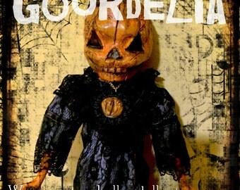 GOURDELIA-OOAK Goth Creepy Horror Pumpkin Punk Art Doll Zombie