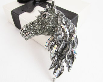 Black Rhinestone Horse Brooch, Horse Brooch, Horse Jewellery, Equestrian Brooch, Equestrian Jewelry, Rhinestone Horse Pin, Cowboy Jewelry