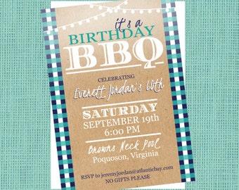 Birthday Barbeque Invitation - Men's Birthday Invitation - Printable