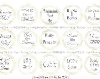 Girly Sayings Bottle Cap Images
