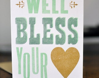 Well Bless Your Heart, Letterpress Wood Type Birthday Card
