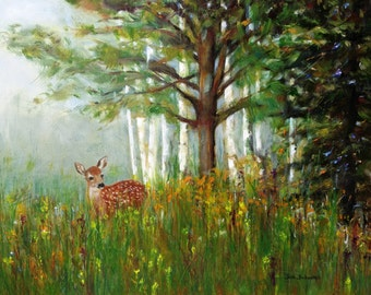 "Original Oil Painting, 16X20"" FOR SALE, Deer in the woods, Deer Fawn painting,  Forest, wildlife art, Landscape, Pine, wild spring flower"