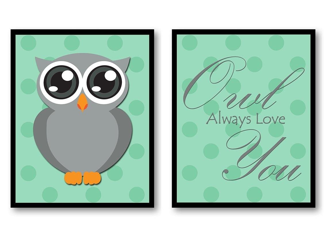 Owl Always Love You Nursery Art Nursery Print Set of 2 Polka Dots Mint Green Grey Child Prints Kids