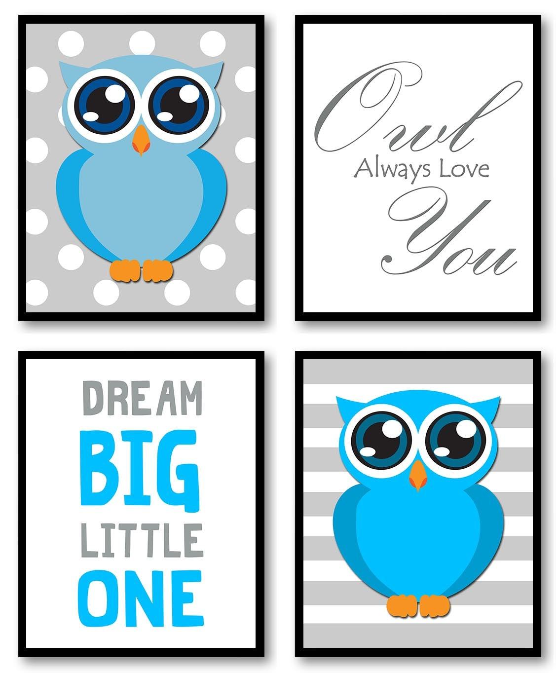 Owl Nursery Art Set of 4 Prints Blue Grey Gray Polka Dots Dream Big Little One Owl Always Love You C
