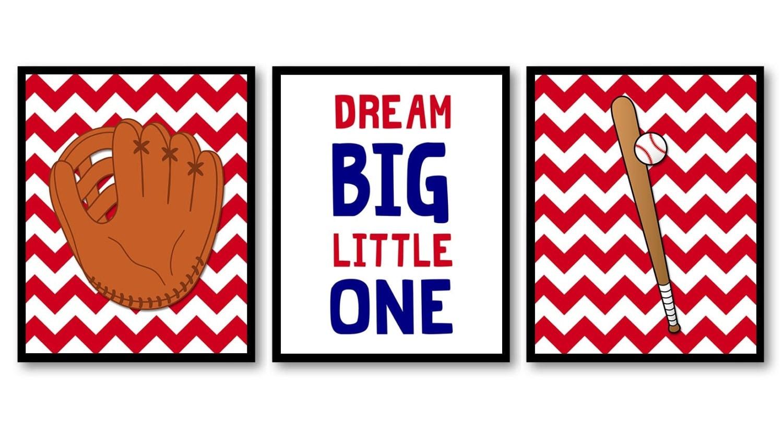 Red Chevron Baseball Nursery Art Child Kids Prints Art Baseball Bat and Glove Dream Big Little One S