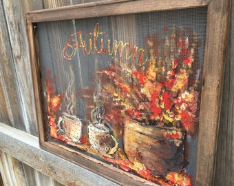 Autumn art, fall decor , outdoor art , window screen,coffee art,friends art Made to order